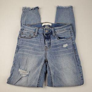 Eunina Josie Skinny Crop Raw Step Hem Jeans Sz 1